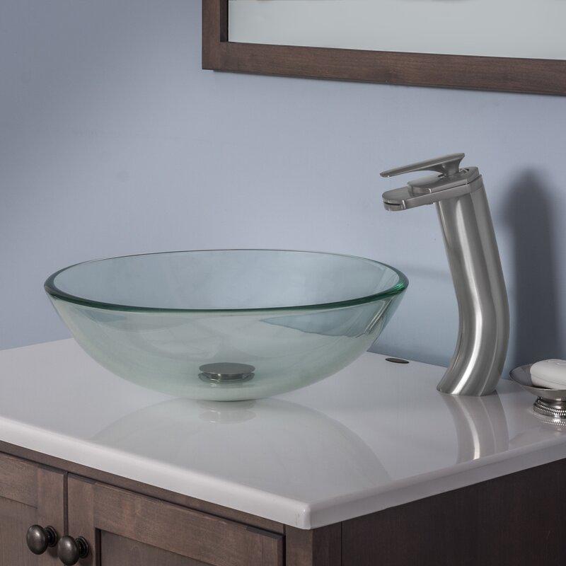POP UP WASTE BATHROOM LUXURY GLASS BASIN MATCHING ROUND GLASS WATERFALL TAP