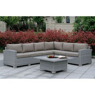Mcintyre 6 Piece Rattan Sectional Seating Group with Cushions (Set of 6)