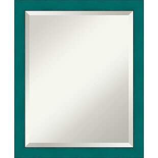 One Allium Way Eulalie French Teal Rustic Wall Mirror