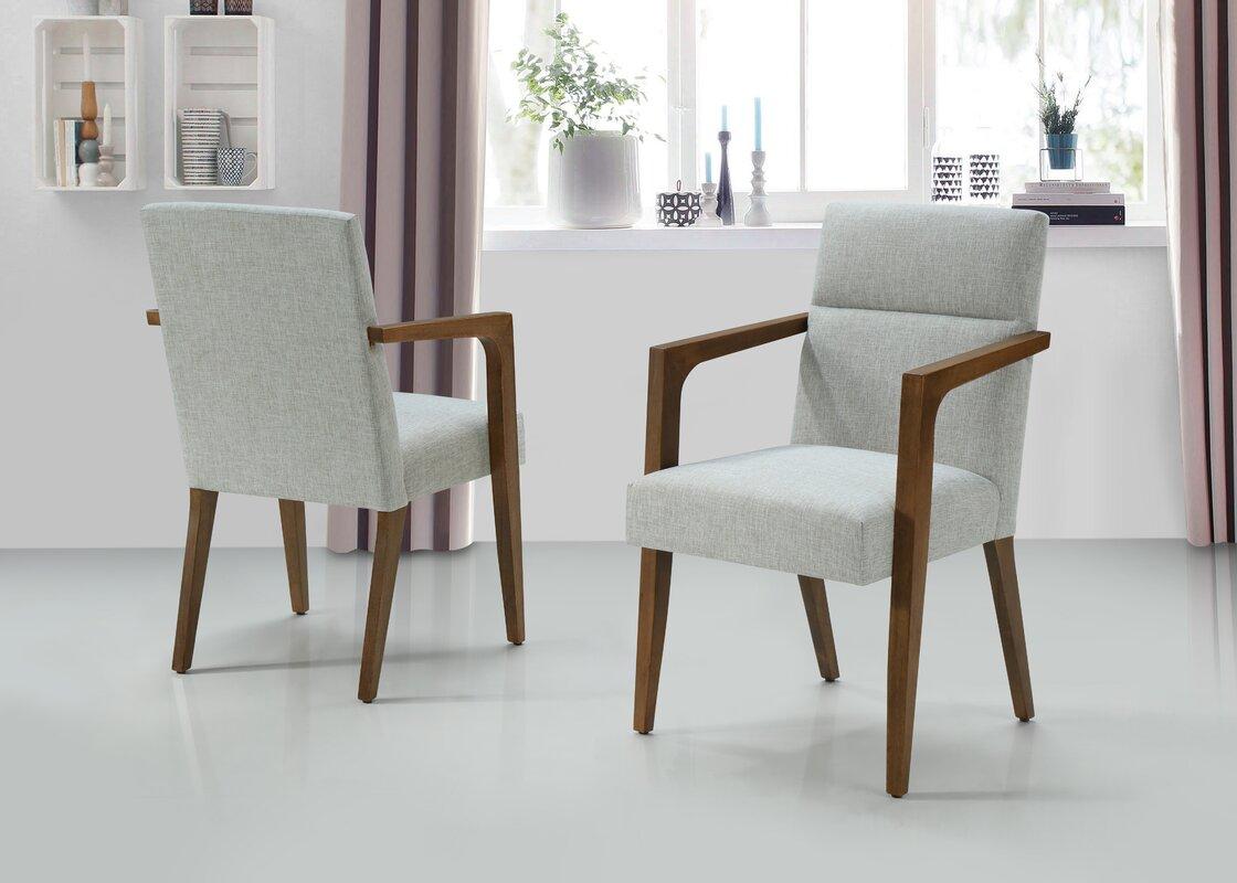 Corrigan Studio Wilkin Upholstered Armchair in White (Set of 2)