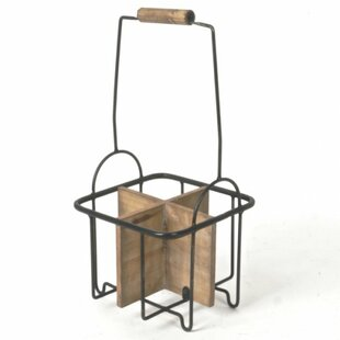 Gilstrap Metal and Wood 4 Bottle Tabletop Wine Bottle Rack by August Grove