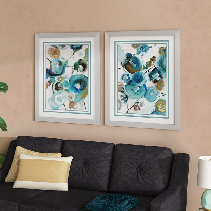 Phenomenal Sapphire Blooms 2 Piece Framed Painting Print Set Machost Co Dining Chair Design Ideas Machostcouk