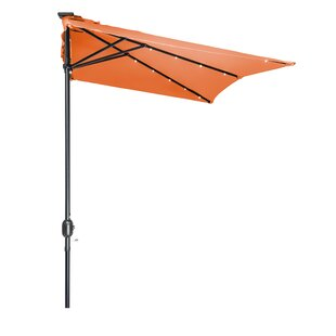 Trademark Innovations 5' x 6.5' Lighted Half Umbrella