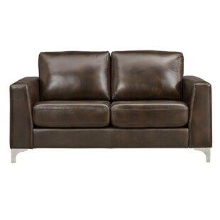 Mercury Row Shupe Leather Loveseat
