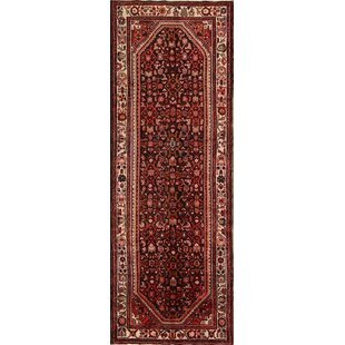 One-of-a-Kind Mori Hamedan Vintage Persian Geometric Hand-Knotted Runner 3'9 x 10'8 Wool Red/Black Area Rug Isabelline