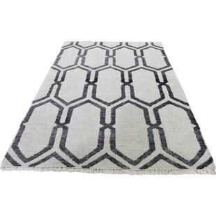 Read Reviews One-of-a-Kind Pridgen Hand-Knotted 4' x 6' Wool/Silk Black/Gray Area Rug By Isabelline