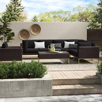 Ivy Bronx Shameka Motion Fire Outdoor 7 Piece Sunbrella Sofa Seating Group With Cushions Wayfair