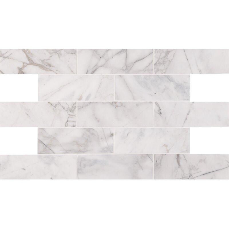 Calacatta Cressa Honed 4 X 12 Marble Subway Tile In White
