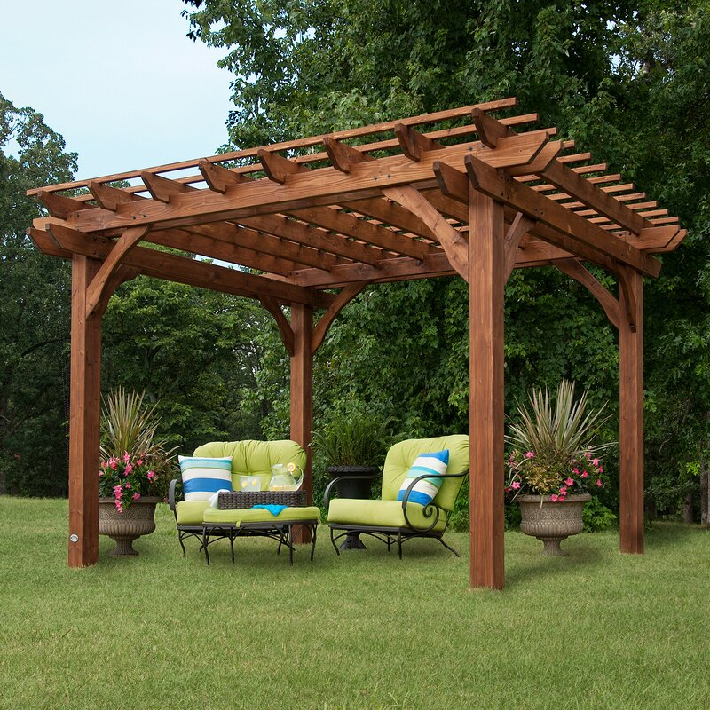 Backyard Discovery Cedar 12 Ft W X 10 D Solid Wood Pergola Reviews Wayfair