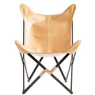 Wein Foldable Leather Butterfly Chair by Union Rustic