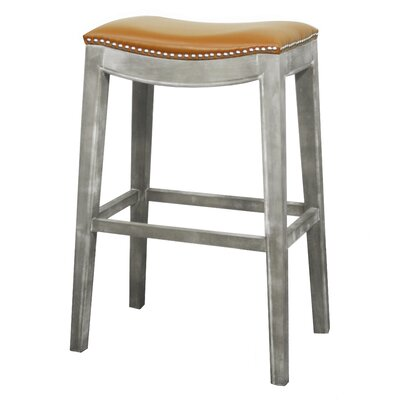 "Prendergast Bar & Counter Stool Lark Manor Upholstery: Pumpkin, Color: Mystique Gray, Seat Height: Counter Stool (24.5"" Seat Height)"