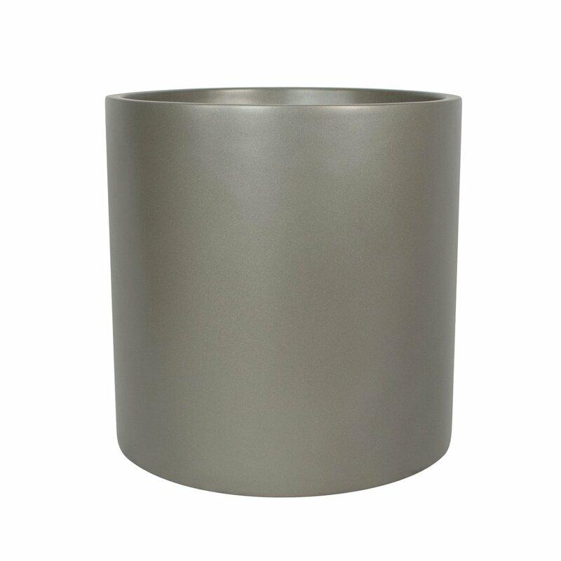 "Mercury Row  Sheilds Cylinder Fiberglass Pot Planter Size: 16"" H x 16"" W x 16"" D, Color: Gray"