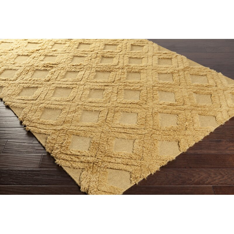 George Oliver Burchfield Geometric Handwoven Wool Yellow Area Rug Wayfair