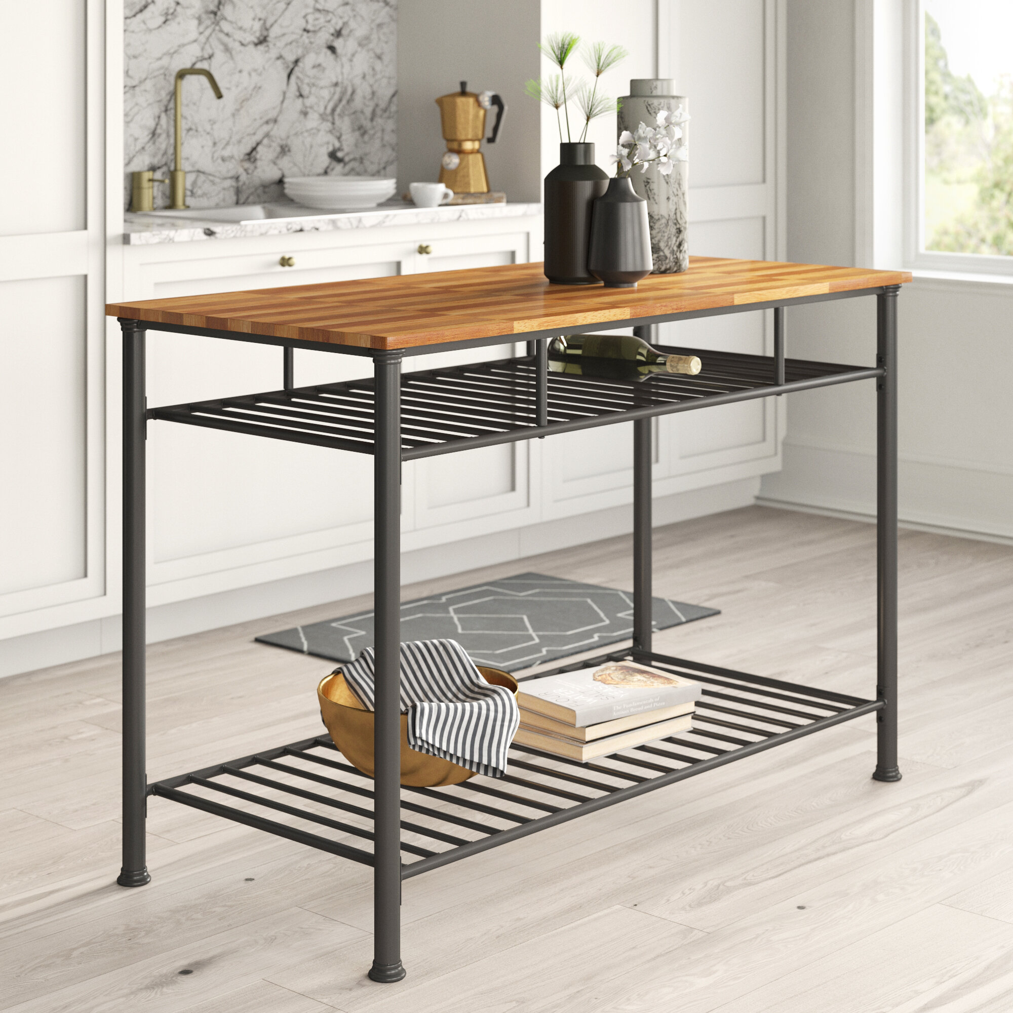 Mercury Row Tania Prep Table With Wood Top Reviews Wayfair