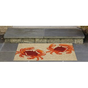 Walton Crabs Hand-Tufted Brown/Red Indoor/Outdoor Area Rug