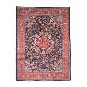 Glyndon Hand-Knotted Wool Blue/Red Area Rug