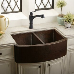 Review Lustertone 33 x 21 Double Basin Farmhouse Kitchen Sink with Perfect Drain by Elkay