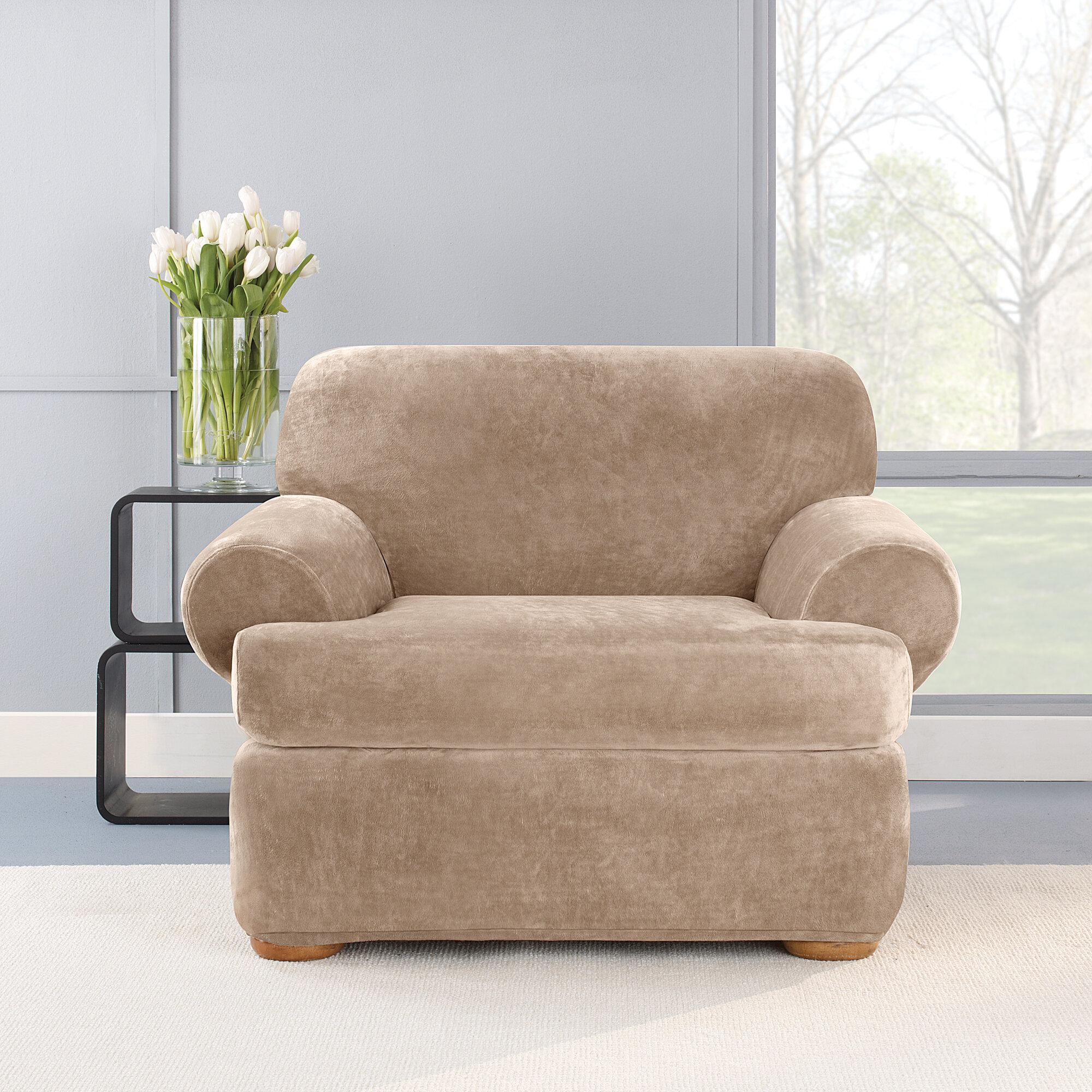 Stretch Plush 2 Piece T-Cushion Chair Slipcover Set