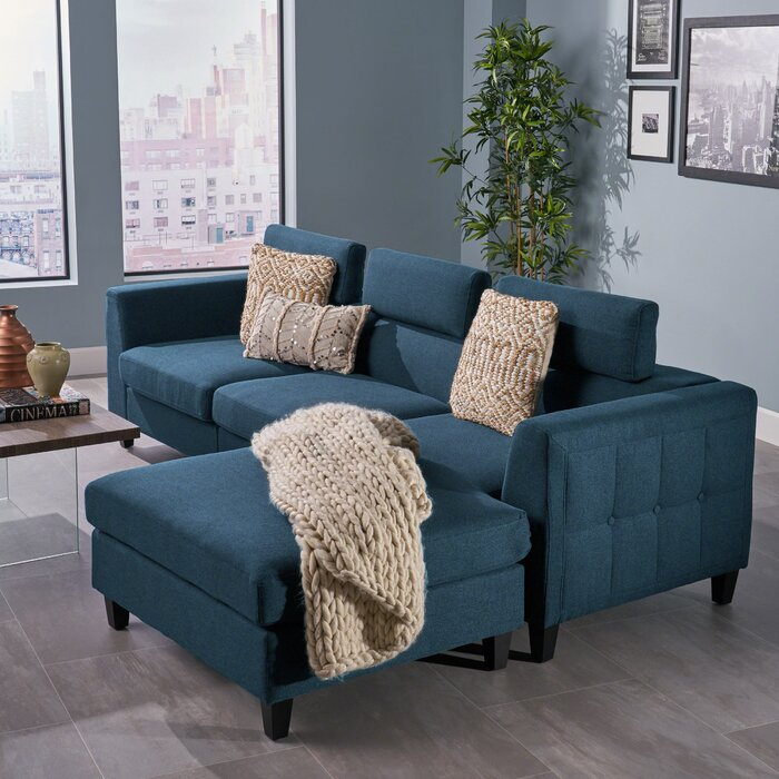 Lundberg Right Hand Facing Modern Deep Seated Chaise Modular Sectional