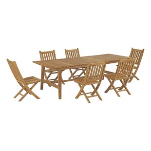 Christian Outdoor Patio 7 Piece Teak Dining Set