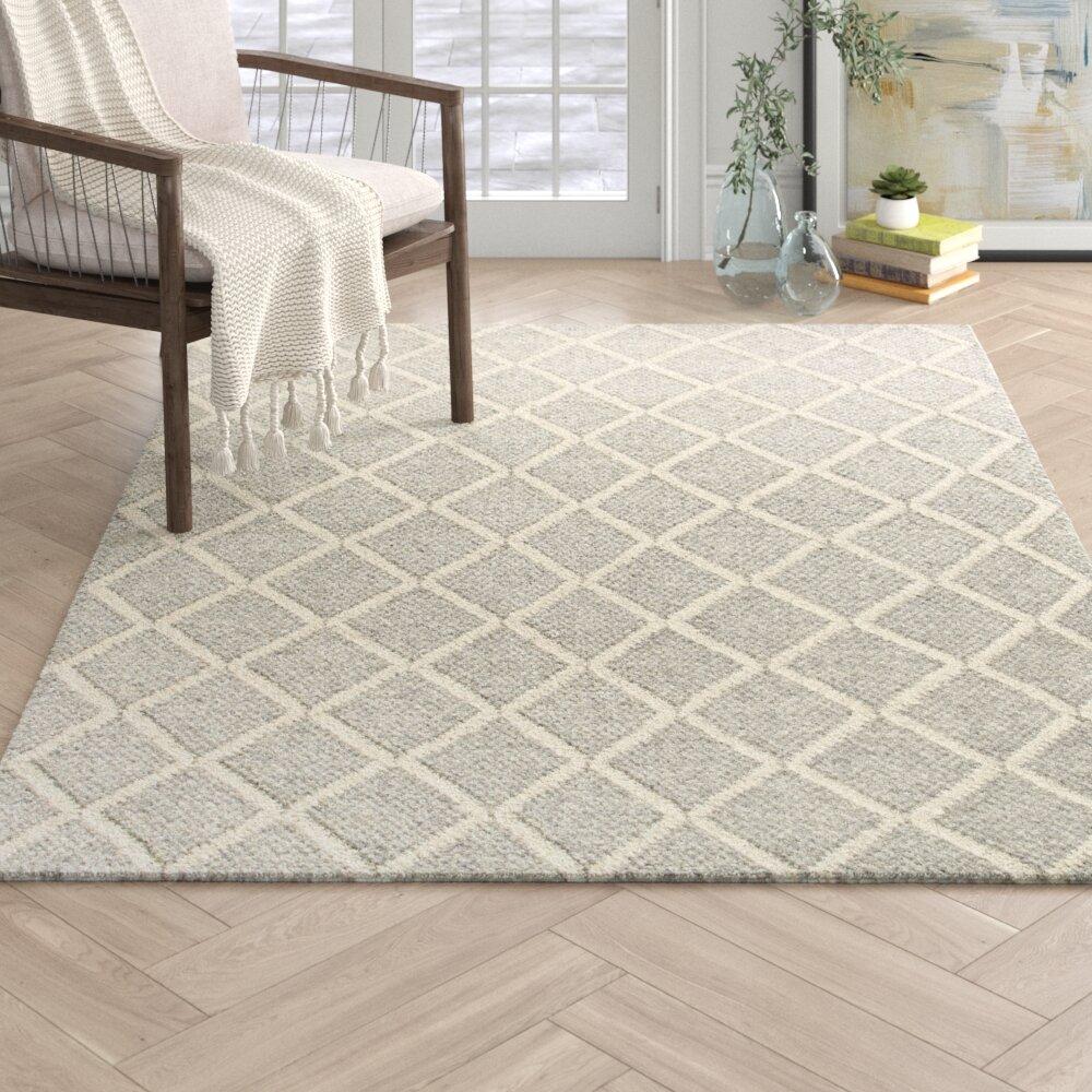 Arias Geometric Hand Tufted Wool Gray Area Rug Reviews Joss Main