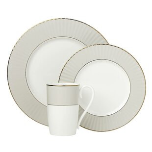 Pleated 3 Piece Bone China Place Setting, Service for 1