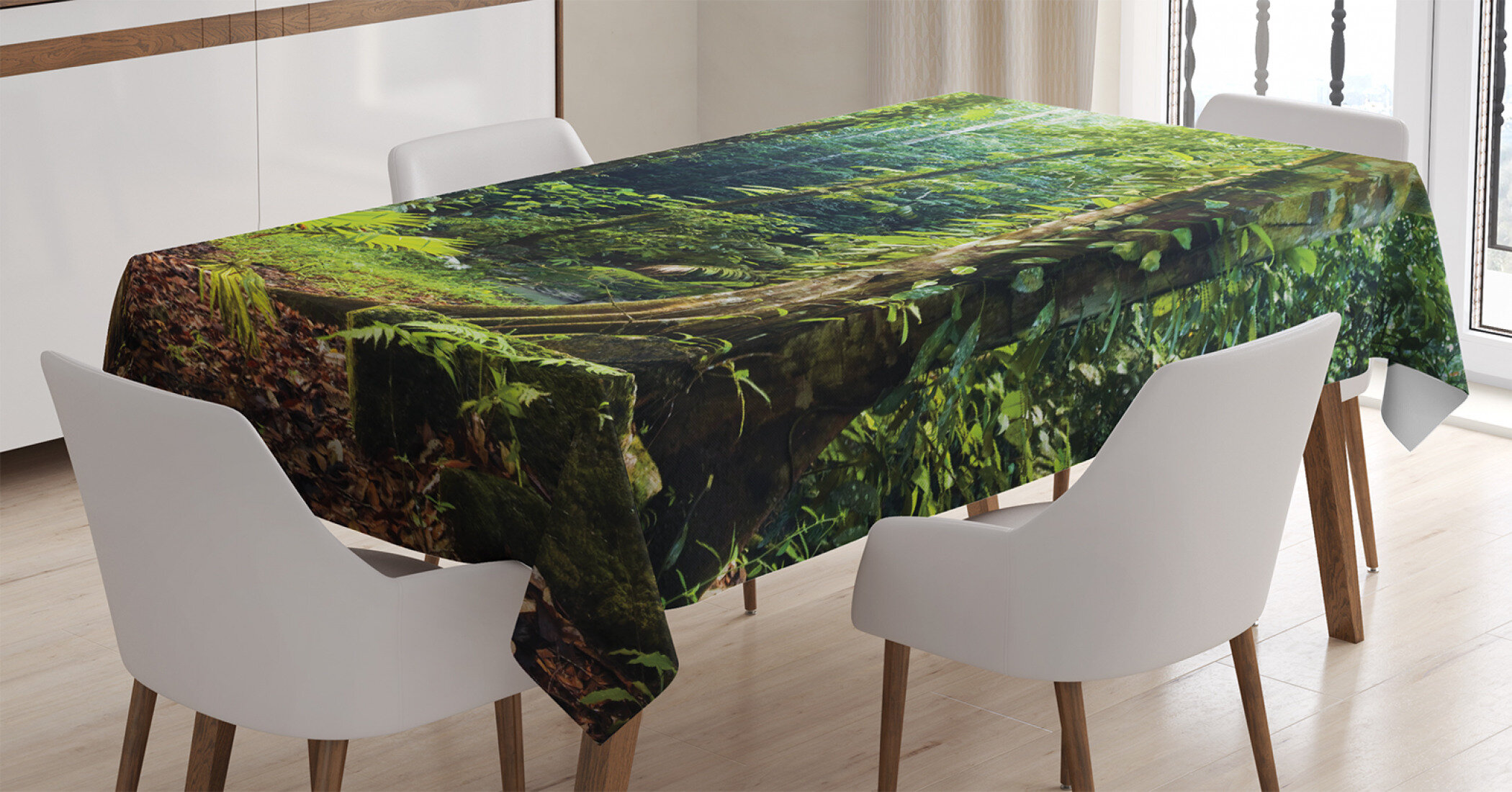 East Urban Home Ambesonne Rainforest Tablecloth Morning Sunbeam Through Wild Forest Ivy On Trees Tranquility In Nature Eco Rectangular Table Cover For Dining Room Kitchen Decor 60 X 84 Green Brown