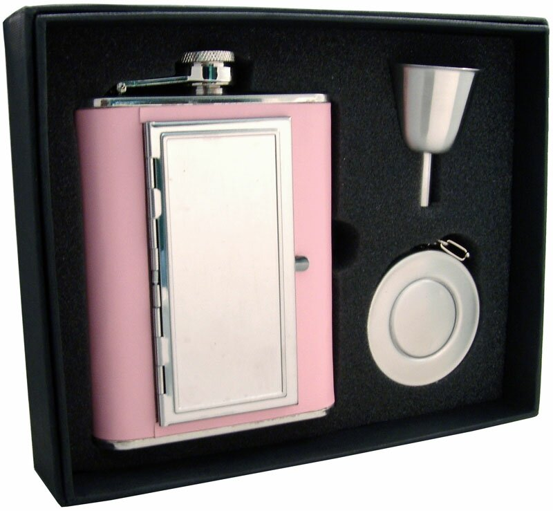Visol Products Claudia Leatherette Flask With Built In Cigarette Case Stellar Gift Set Wayfair