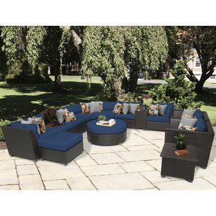 TK Classics Barbados 12 Piece Rattan Sectional Set with Cushions
