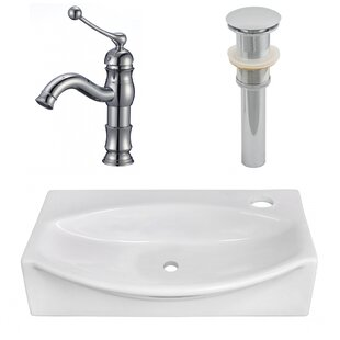 Check Prices Ceramic 12 Wall Mount Bathroom Sink with Faucet By American Imaginations