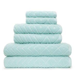 Myrna Textured 6 Piece 100% Cotton Towel Set