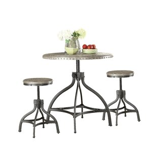 Kason Fatima 3 Piece Adjustable Counter Height Set with Stool Seating