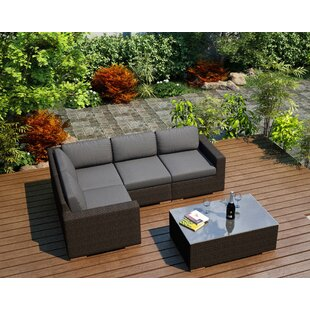 Harmonia Living Arden 5 Piece Teak Sectional Set with Sunbrella Cushions