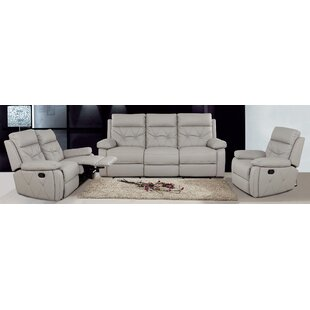 3 Reclining Piece Leather Living Room Set ByAttraction Design Home