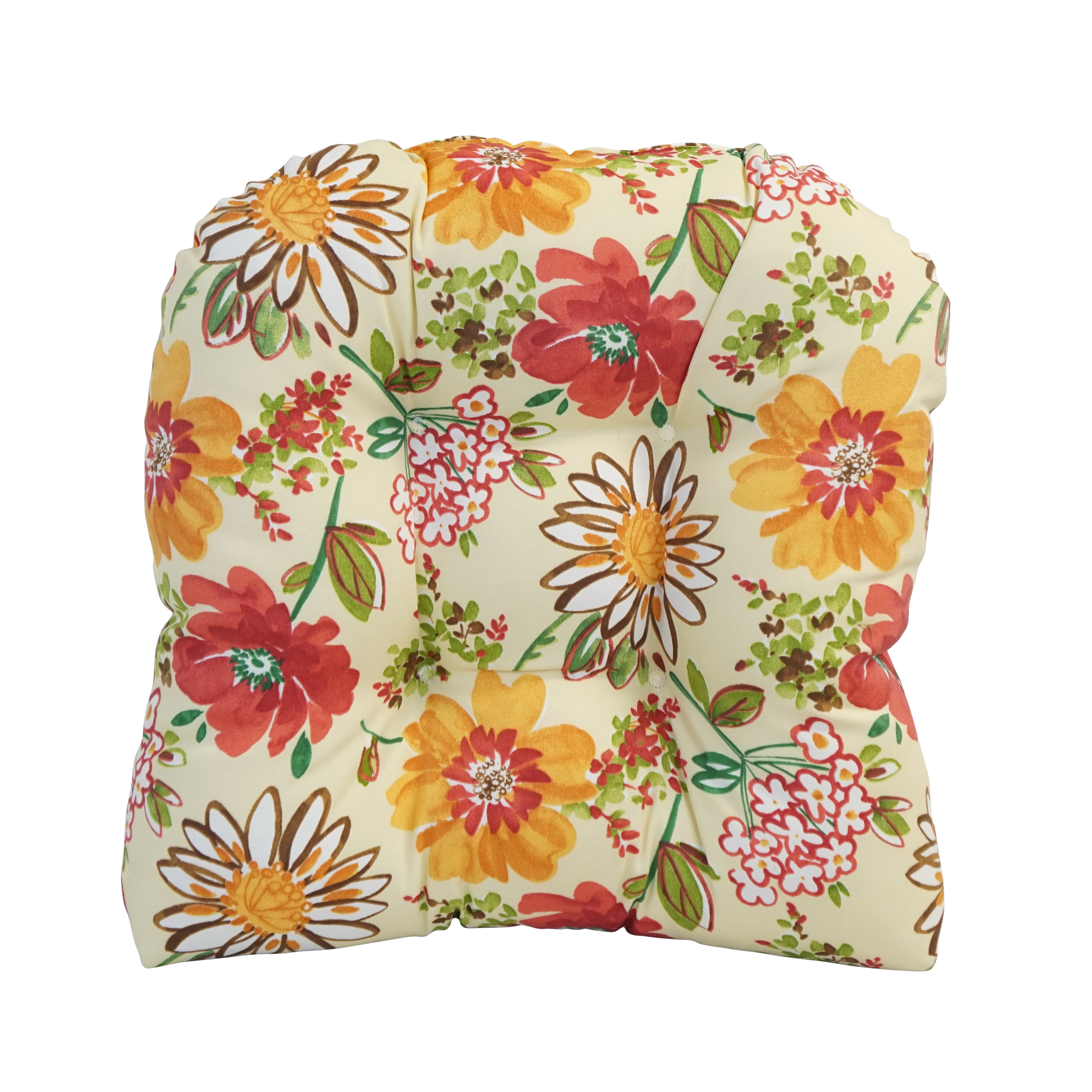 Tropical Chair Cushion Outdoor Uv Resistant Polyester With Vivid Floral Pattern