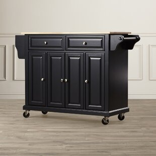 Hedon Kitchen Cart with Solid Wood Top Three Posts