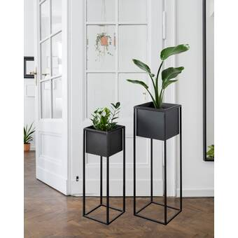Wrought Studio Coates Decorative Indoor 2 Piece Metal Pot Planter Set Reviews Wayfair Ca