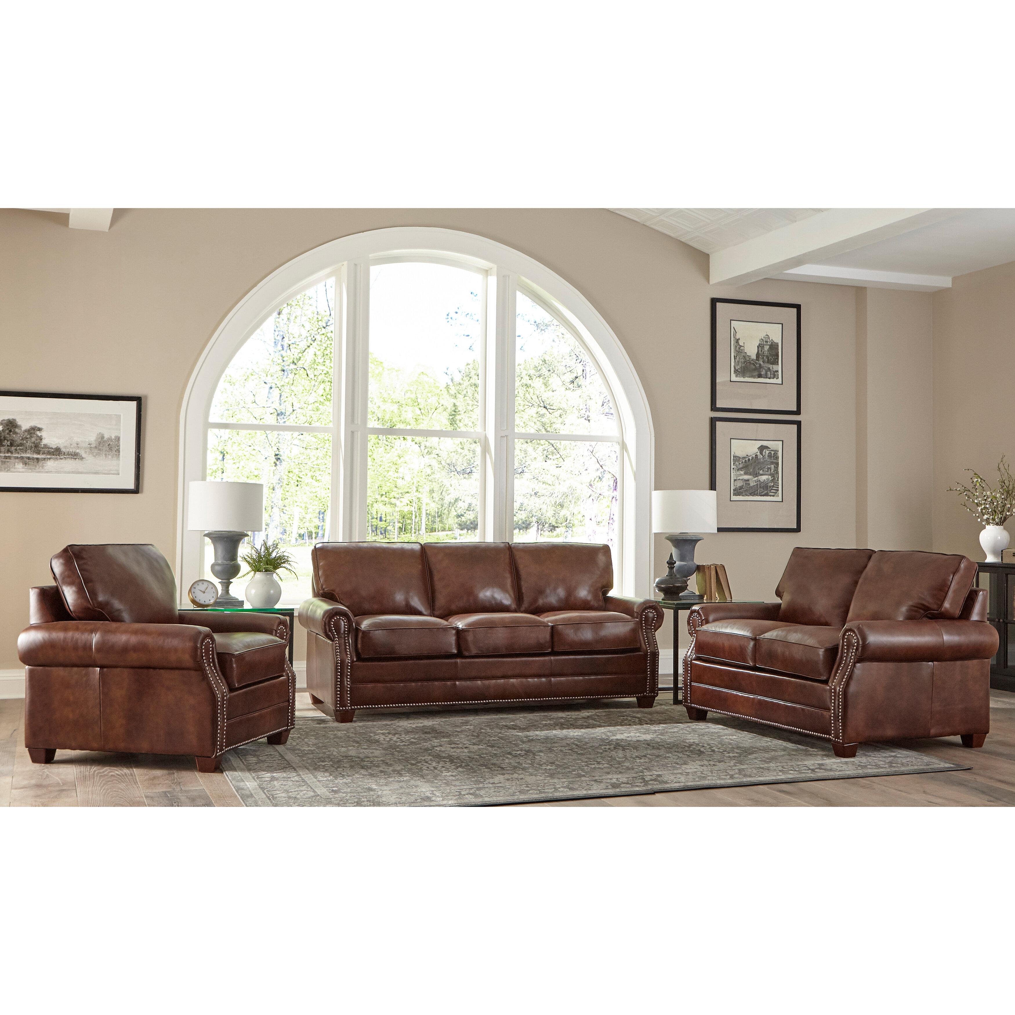 Lyndsey 5 Piece Leather Sleeper Living Room Set