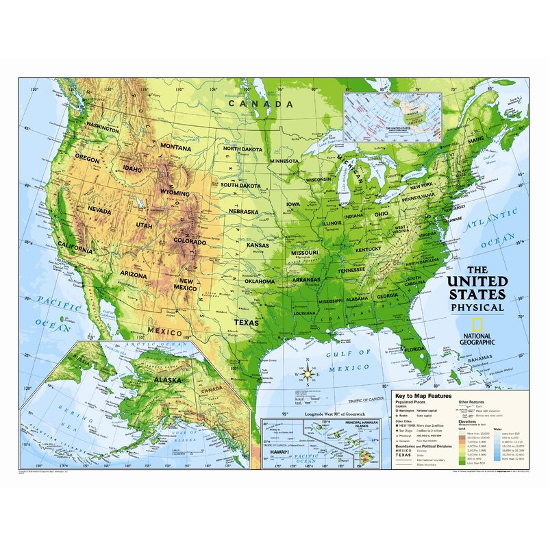 Kids Physical USA Wall Map (Graded 4-12)
