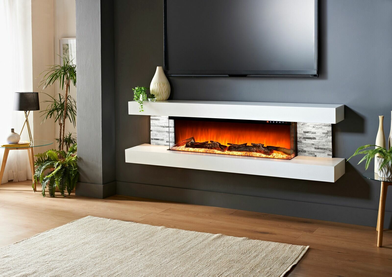 Orren Ellis Katlyn Wall Mounted Electric Fireplace Reviews Wayfair