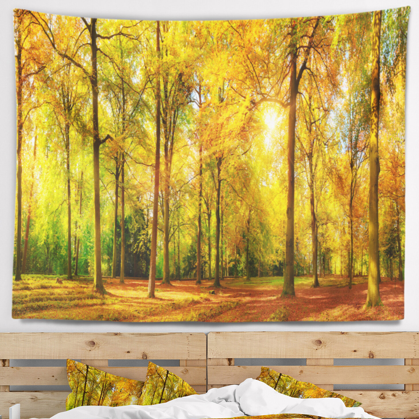 East Urban Home Landscape Gorgeous Autumn of Sunny Forest Tapestry ...