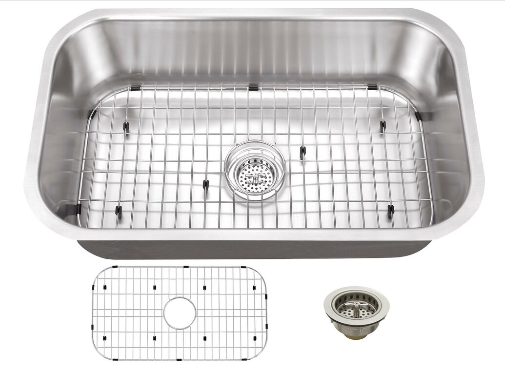 Medium image of 16 gauge stainless steel 32   x 18   undermount kitchen sink with drain assembly