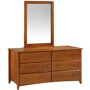 Affordable Faringdon 6 Drawer Double Dresser with Mirror by Three Posts