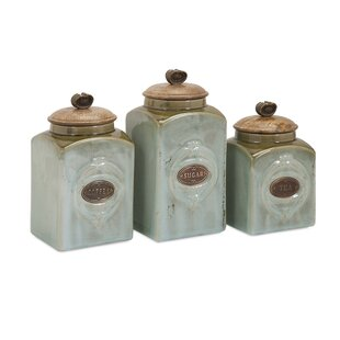 Wooden Lid Ceramic 3 Piece Kitchen Canister Set