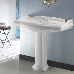 Best 1837 Ceramic 35 Pedestal Bathroom Sink with Overflow By CeraStyle by Nameeks