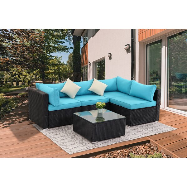 Orren Ellis Morrowville 5 Piece Rattan Sectional Seating Group With Cushions Reviews Wayfair