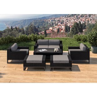 Stivers 7 Piece Rattan Sofa Seating Group with Cushions