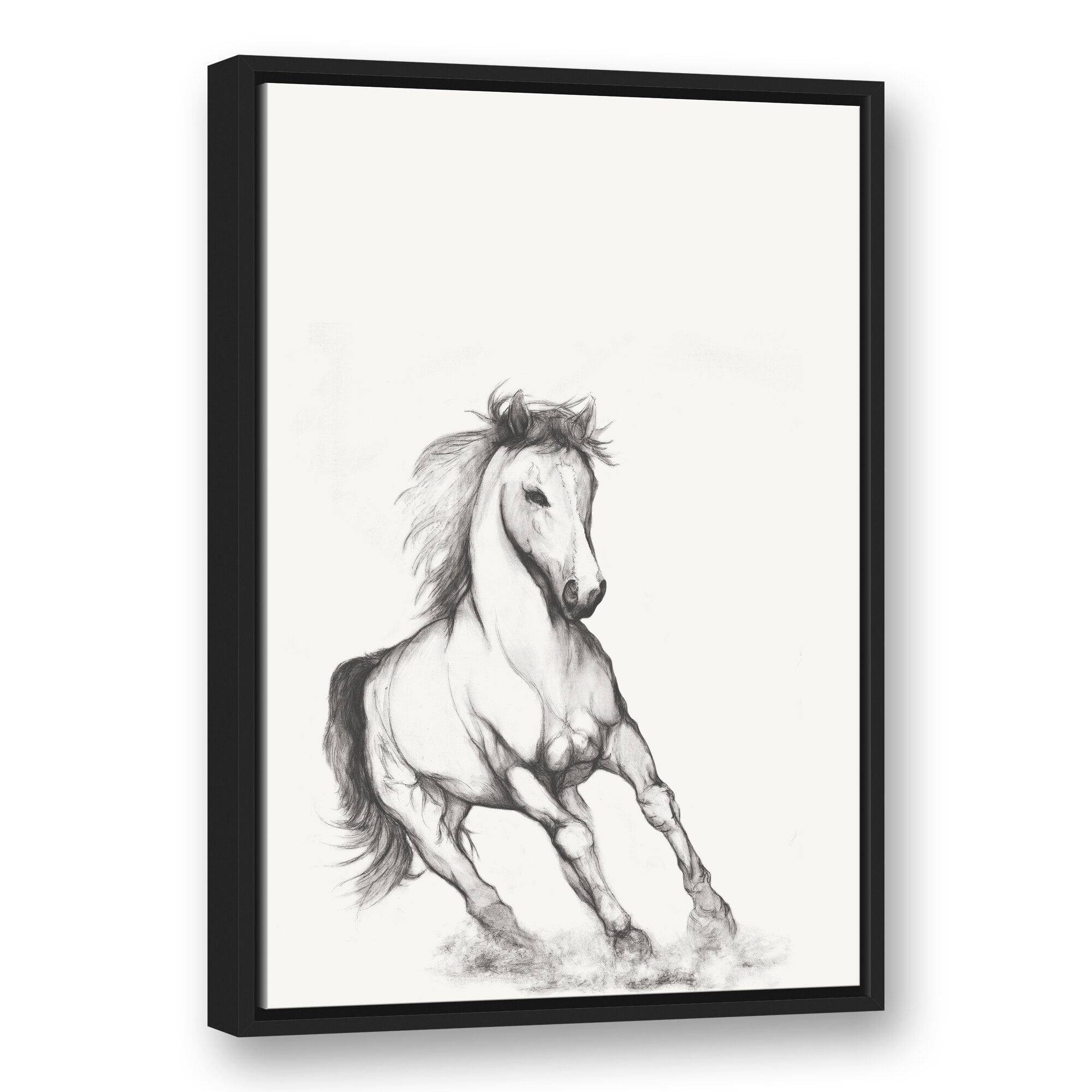 Millwood Pines Running Horse Sketch Framed Drawing Print On Canvas