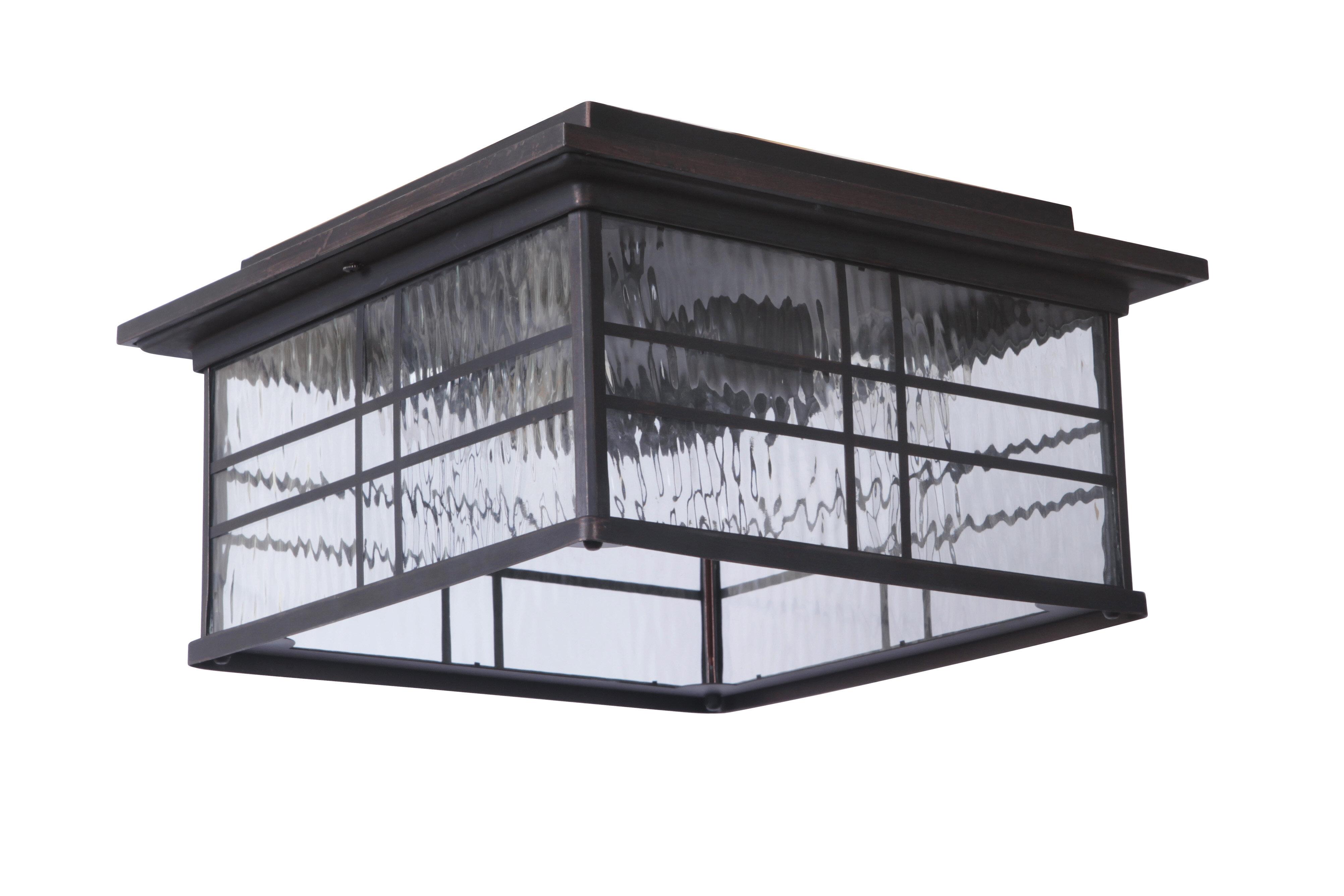 Darby Home Co Sanderson 2 Light Outdoor Flush Mount Reviews Wayfair