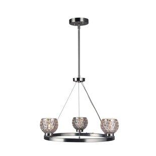 Wrought Studio Sadowski Modern Crystal Ball 3-Light Wagon Wheel Chandelier